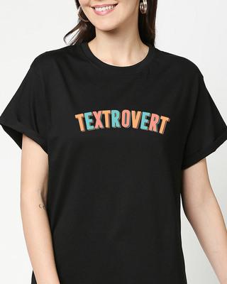 Shop Textrovert Boyfriend T-Shirts Black-Front