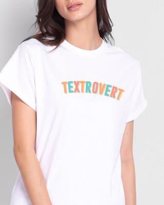 Shop Textrovert Boyfriend T-Shirts White-Front