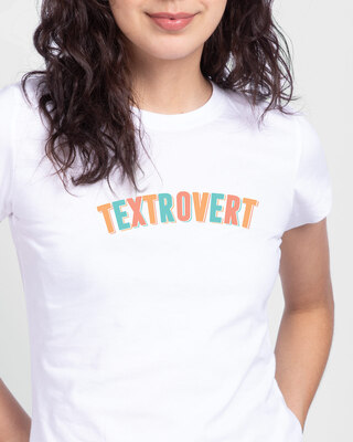 Shop Textrovert Half Sleeve Printed T-Shirt White-Front