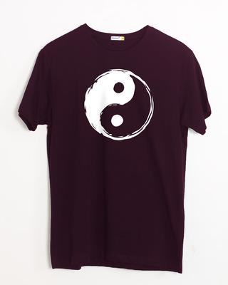 Shop Textured Yin Yang Half Sleeve T-Shirt-Front