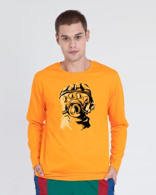 Shop Thanos Gauntlet Full Sleeve T-Shirt  (AVL) Neon Orange-Front