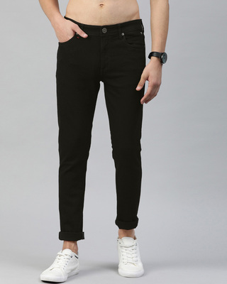 Shop The Bear House Black Core Tapered Slim Fit Jeans-Front