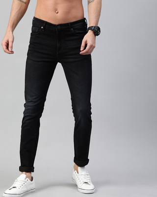 Shop The Bear House Blue Chuck Knitted Tapered Slim Fit Jeans-Front