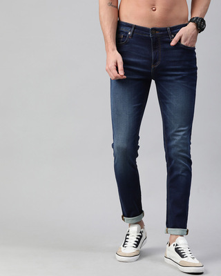 Shop The Bear House Blue Eddie Spray On Tapered Slimfit Jeans-Front