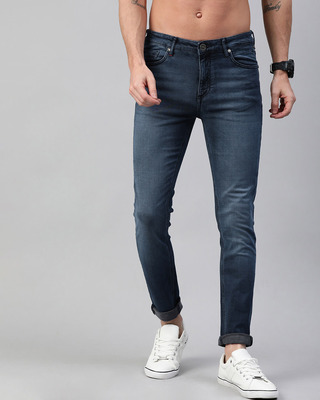 Shop The Bear House Blue Joe Knitted Tapered Slim Fit Jeans-Front