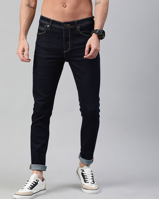 Shop The Bear House Blue Ollie Washed Tapered Slim Fit Jeans-Front