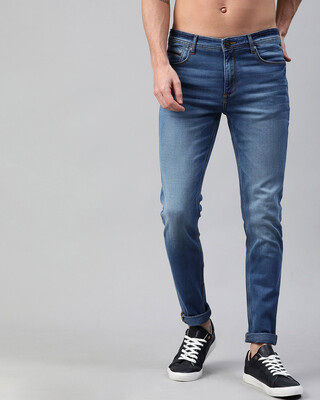 Shop The Bear House Blue Scott Knitted Tapered Slim Fit Jeans-Front