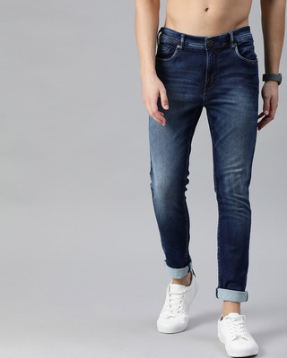 Shop The Bear House Blue Sid Knitted Tapered Slim Fit Jeans-Front