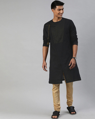 Shop The Bear House Men Black Angrakha Style Festival Kurta-Front