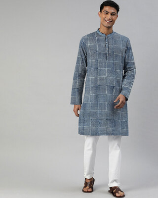 Shop The Bear House Men Indigo Hand Block Printed Sustainable Kurta-Front
