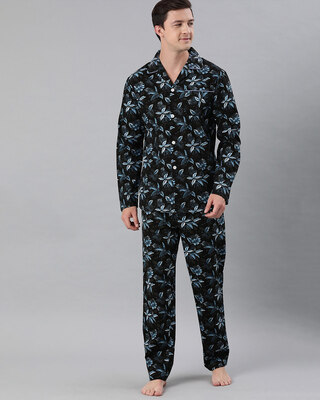 Shop The Bear House Men Pure Cotton Printed Nightsuit(Tbh-Sickle-Bk)-Front