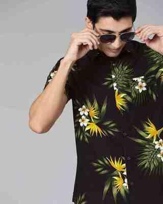 Shop The Bear House Men'S Black Printed Floral Shirt-Front