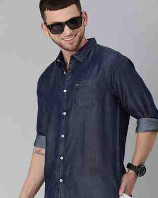 Shop The Bear House Men'S Blue Core Denim Shirt-Front