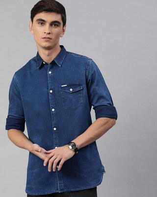 Shop The Bear House Men's Blue Denim One Pocket Shirt-Front