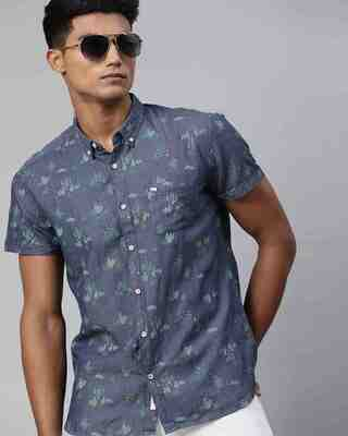 Shop The Bear House Men'S Blue Printed Casual Shirt-Front