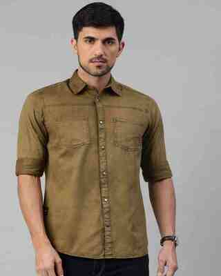 Shop The Bear House Men'S Green Double Pocket Overshirt-Front