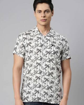 Shop The Bear House Men's Printed Bowling Collar Shirt-Front