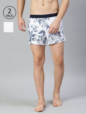 Shop The Bear House Men's Printed Knitted Boxers Pack of 2 TBHALGA-Front