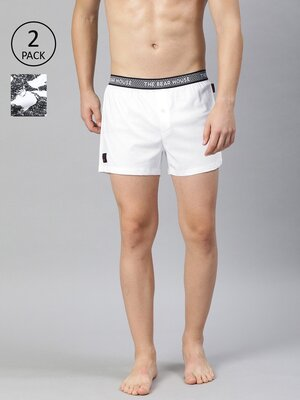 Shop The Bear House Men's Printed Knitted Boxers Pack of 2 TBHLEILI-Front