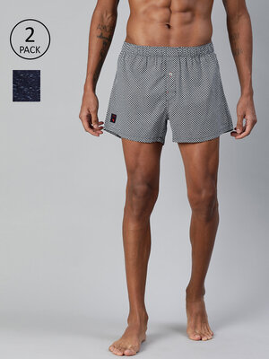 Shop THE BEAR HOUSE Men's Printed Woven Boxers(Pack of 2)||TBH-PALAZO-Front