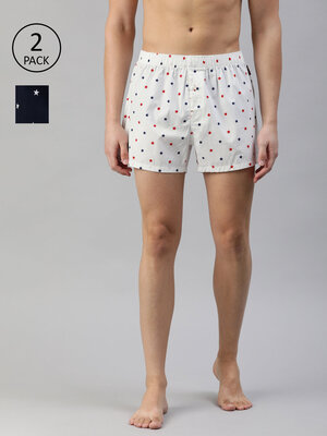 Shop The Bear House Men's Printed Woven Boxers (Pack of 2)||TBH-BOSTON-Front