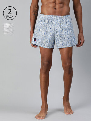 Shop The Bear House Men's Printed Woven Boxers (Pack of 2)||TBH-BELUGA-Front