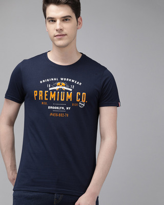 Shop The Bear House Printed Men Round Neck Blue T-Shirt-Front