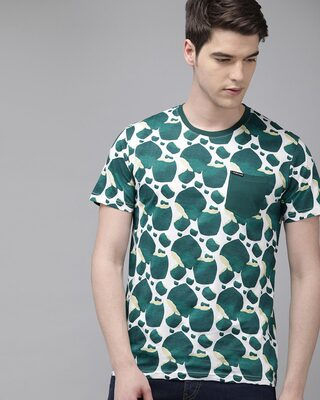 Shop The Bear House Printed Men Round Neck Green T-Shirt-Front