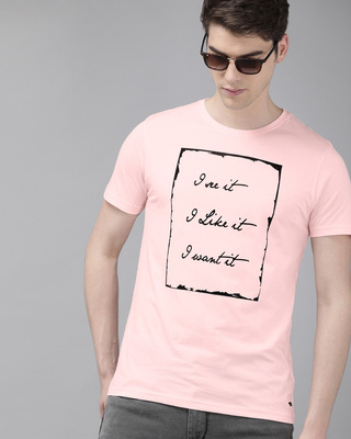 Shop The Bear House Printed Men Round Neck Pink T-Shirt-Front