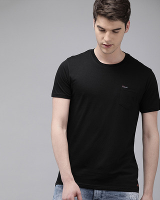 Shop The Bear House Solid Men Round Neck Black T-Shirt-Front