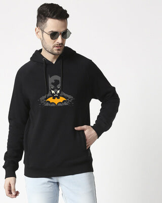 Shop The Dark Knight Yellow Symbol Stylised Panel Hoodie Sweatshirt (BML)-Front