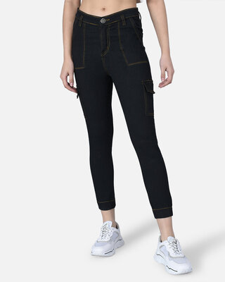 Shop The Dry State  Black dark wash jeans-Front