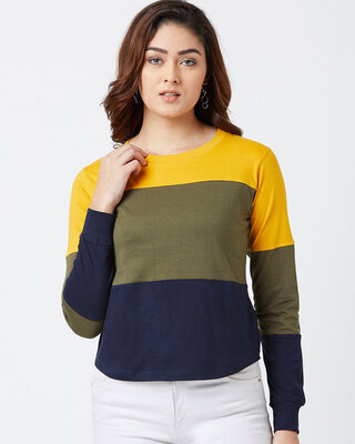 Shop THE DRY STATE Color Block Women Round Neck Multicolor T-Shirt-Front