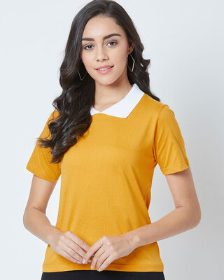 Shop THE DRY STATE Solid Women Polo Neck T-Shirt-Front