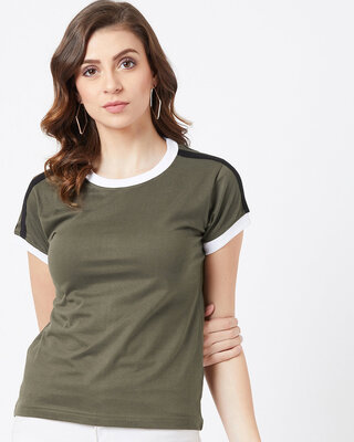 Shop THE DRY STATE Solid Women Round Neck Green T-Shirt-Front