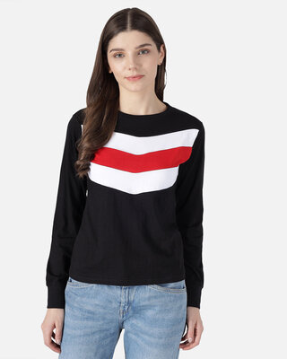 Shop THE DRY STATE Striped Women Round Neck Denim T-Shirt-Front