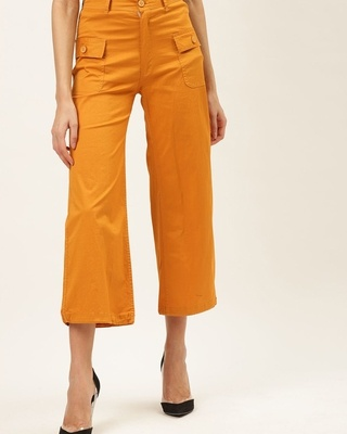 Shop The Dry State Women Mustard yellow solid high-rise cropped parallel trousers-Front