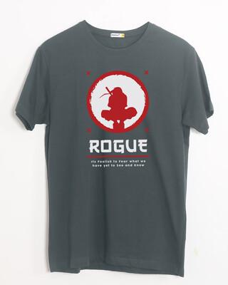 Shop The Rogue Ninja Half Sleeve T-Shirt Nimbus Grey-Front