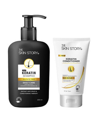 Shop The Skin Story Sulphate & Paraben Free Keratin Hair Care Duo ( Shampoo + Conditioner ) For Dry Hair-Front