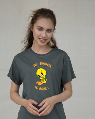 Shop The Snuggle Is Real Boyfriend T-Shirt (TWL)-Front