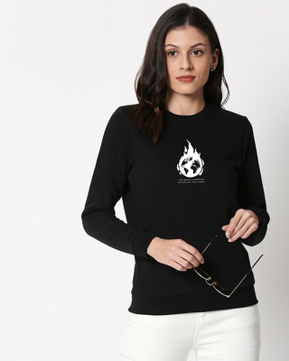Shop The World Is Burning  Fleece Sweater Black-Front
