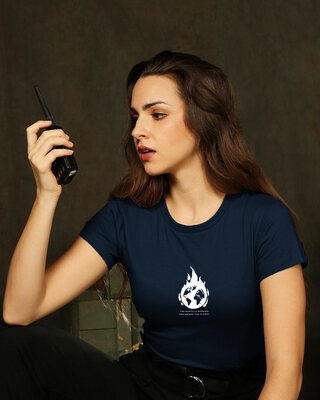 Shop The World Is Burning  Half Sleeve Printed T-Shirt Navy Blue-Front