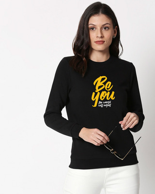 Shop The World Will Adjust Fleece Sweater Black-Front