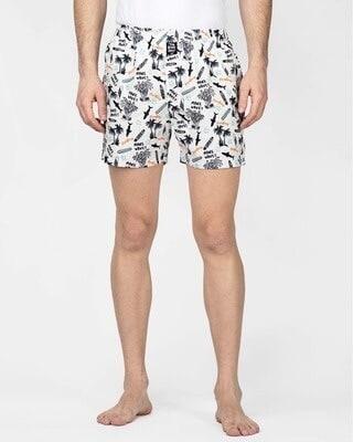 Shop thebriefsstory Beach Print Comfy Cotton Boxer Shorts-Front