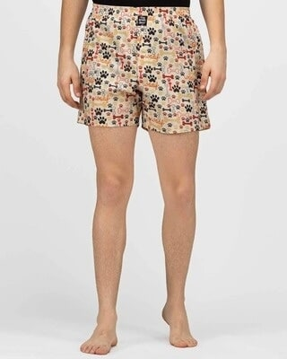 Shop thebriefsstory Paw Love Comfy Cotton Boxer Shorts-Front