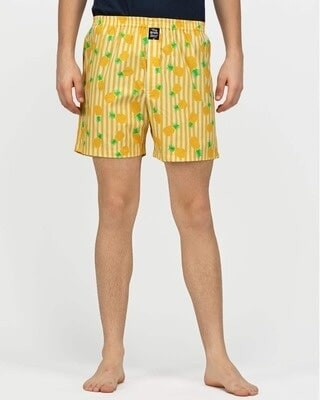 Shop thebriefsstory Pineapple Comfy Cotton Boxer Shorts-Front