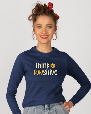 Shop Think Pawsitive Fleece Light Sweatshirt-Front