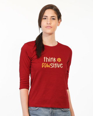 Shop Think Pawsitive Round Neck 3/4th Sleeve T-Shirt-Front