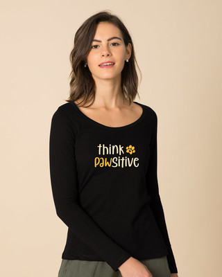 Shop Think Pawsitive Scoop Neck Full Sleeve T-Shirt-Front
