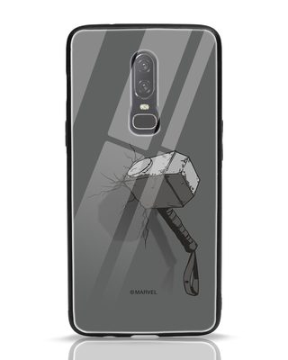 Shop Thor Hammer OnePlus 6 Glass Mobile Cover (AVL)-Front